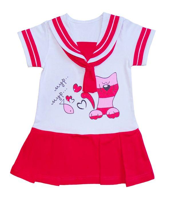 Бело-красное платье Котик мур-мур