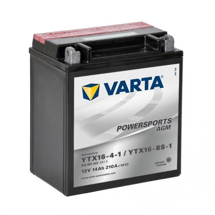 Мото аккумулятор АКБ VARTA (ВАРТА) AGM 514 901 022 A514 YTX16-4-1 / YTX16-BS-1 14Ач п.п.