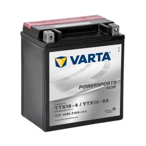 Мото аккумулятор АКБ VARTA (ВАРТА) AGM 514 902 022 A514 YTX16-4 / YTX16-BS 14Ач п.п.