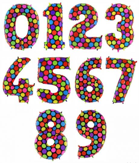 Цифры 0-9 Конфетти Стильные фольгированные шары с гелием