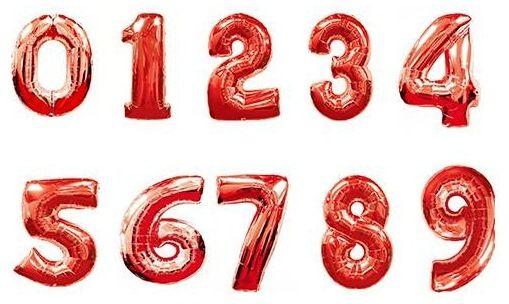 Цифры красные фольгированные шары с гелием