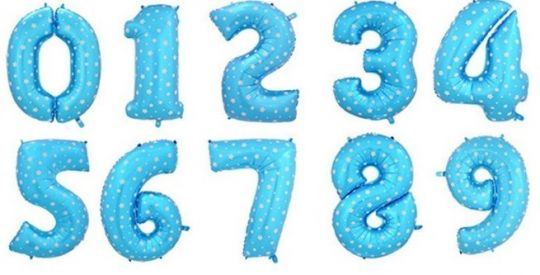 Цифры голубые со звёздами фольгированные шары с гелием