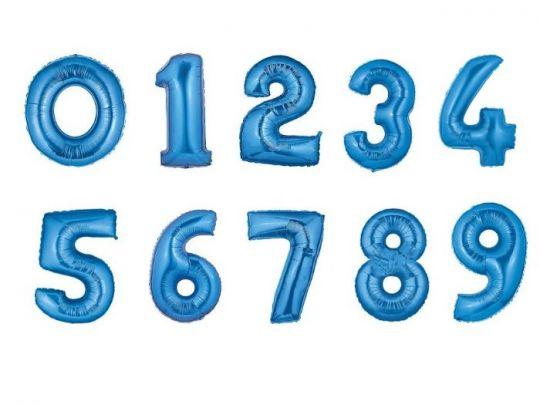 Цифры синие фольгированные шары с гелием