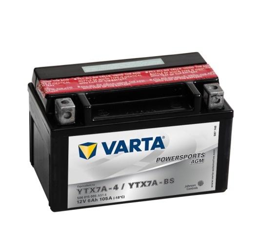 Мото аккумулятор АКБ VARTA (ВАРТА) AGM 506 015 005 A514 YTX7A-4 / YTX7A-BS 6Ач п.п.