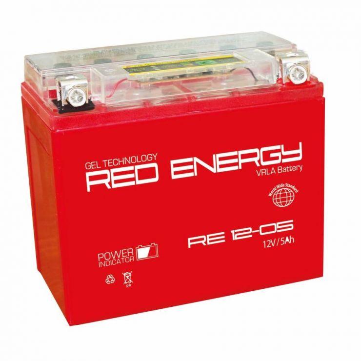 Аккумуляторная батарея АКБ RED ENERGY (РЭД ЭНЕРДЖИ) GEL 1205 YTX5L-BS, YTZ7S 5Ач о.п.