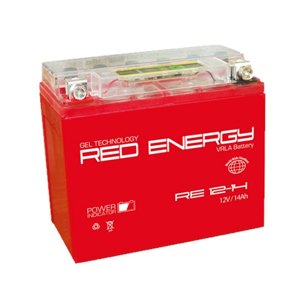Аккумуляторная батарея АКБ RED ENERGY (РЭД ЭНЕРДЖИ) GEL 1214 YTX14-BS, YTX14H-BS, YTX16-BS, YB16B-A 14Ач п.п.