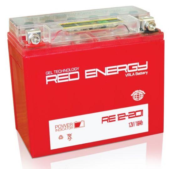 Аккумуляторная батарея АКБ RED ENERGY (РЭД ЭНЕРДЖИ) GEL DS 12201 YTX20L-BS, YTX20HL-BS, YB16L-B, YB18L-A 20Ач о.п.