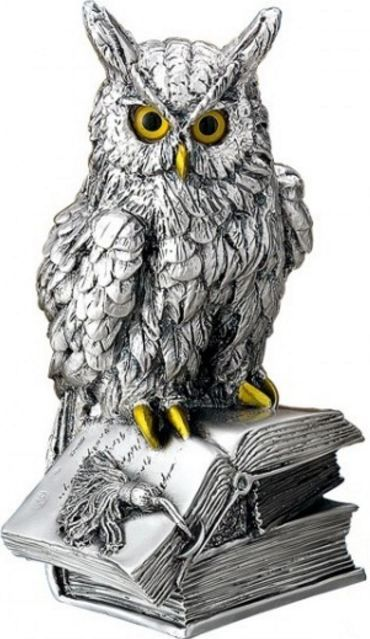 Серебряная статуэтка ученого филина на книге - символ мудрости, знаний, опыта (Италия)