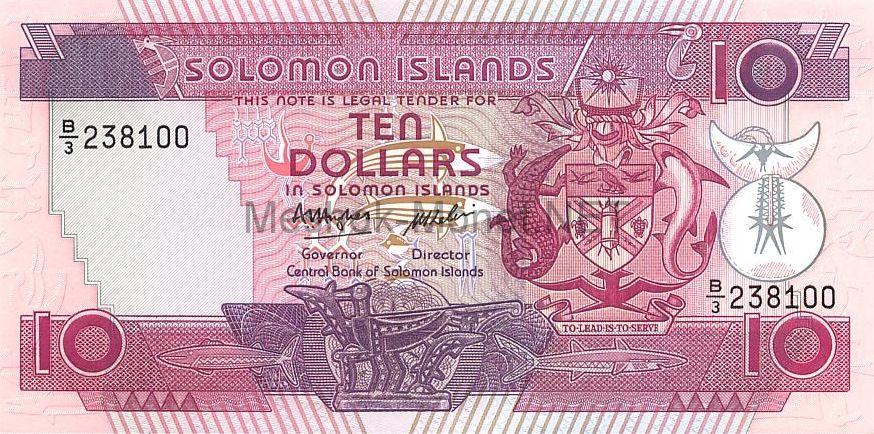 Банкнота Соломоновы острова 10 долларов 1986 год