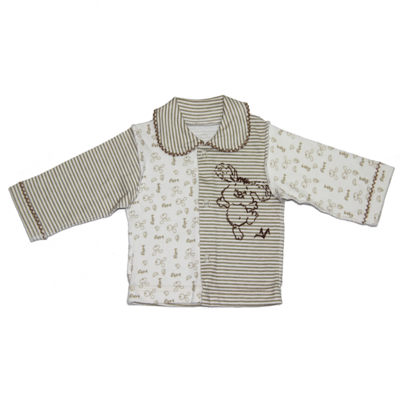 Бело-коричневая детская кофта Счастливый зайка