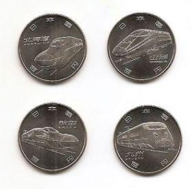 Скоростные поезда 100 иен Япония 2016 Набор 4 монет Вторая серия Новинка!!!