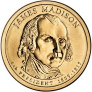 4-й президент США. Джеймс Мэдисон 1 доллар США