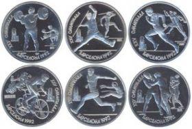 XXV Олимпийские игры. Барселона 1992 Набор монет. 1 рубль,СССР 1991  ( 6 монет)