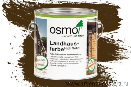Непрозрачная краска для наружных работ Osmo Landhausfarbe 2606 коричневая 2,5 л