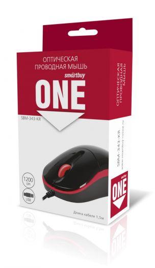 Мышь проводная Smartbuy ONE 343 черно-красная USB