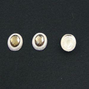 Кабошон со стразой, овал, цвет основы - золото, стразы - светло-коричневый, 21х16 мм (1уп = 10шт)