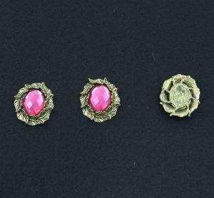 """Кабошон со стразой """"Листики"""", овал, цвет основы - медь, стразы - розовый, 31х25 мм (1уп = 10шт)"""