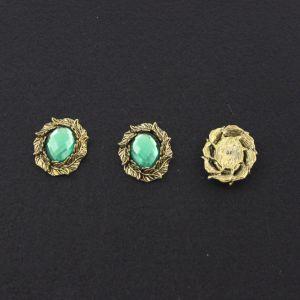 """Кабошон со стразой """"Листики"""", овал, цвет основы - медь, стразы - зеленый, 31х25 мм (1уп = 10шт)"""