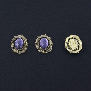 """Кабошон со стразой """"Листики"""", овал, цвет основы - медь, стразы - сиреневый, 31х25 мм (1уп = 10шт)"""