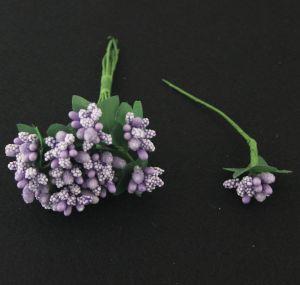 Тычинки в связках перламутровые, цвет: сиреневый, 1уп = 6 связок (1 связка = 11-12 букетиков)