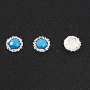 `Кабошон со стразами, круглый, цвет основы - серебро, стразы - голубой мрамор, 20 мм