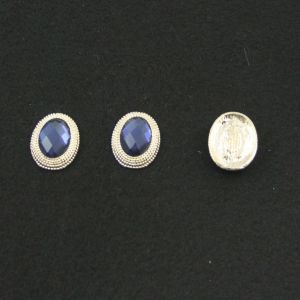 `Кабошон со стразой, овал, цвет основы - золото, стразы - синий, 21х16 мм