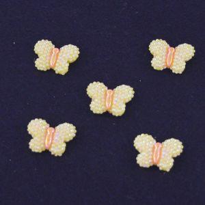 """Кабошон """"Бабочка блестки"""", пластик, 22*17 мм, цвет - желтый (1уп=50шт)"""
