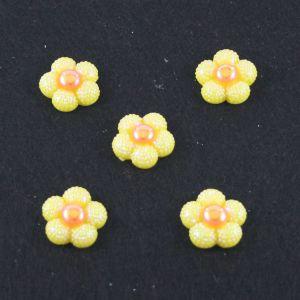 """Кабошон """"Цветок блестки"""", пластик, 20 мм, цвет - желтый (1уп=50шт)"""