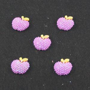 """Кабошон """"Яблоко блестки"""", пластик, 19*18 мм, цвет - фиолетовый (1уп=50шт)"""