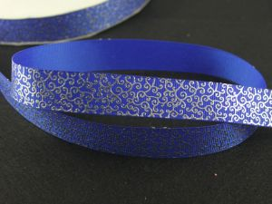 Лента репсовая с рисунком, ширина 22 мм, длина 10 метров цвет: синий, Арт. ЛР5197-3