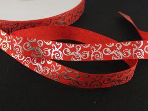 Лента репсовая с рисунком, ширина 22мм, длина 10м цвет: красный