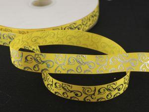 Лента репсовая с рисунком, ширина 22мм, длина 10м цвет: желтый