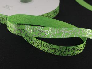 Лента репсовая с рисунком, ширина 22мм, длина 10м цвет: ярко-зеленый
