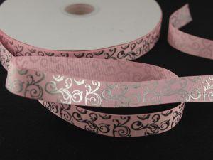 Лента репсовая с рисунком, ширина 22мм, длина 10м цвет: светло-розовый