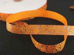 Лента репсовая с рисунком, ширина 22 мм, длина 10 метров цвет: оранжевый, Арт. ЛР5194-9