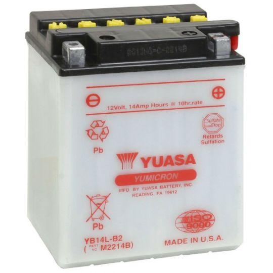 Мото аккумулятор АКБ YUASA (Юаса) YB14-A2 с электролитом 14Ач о.п.