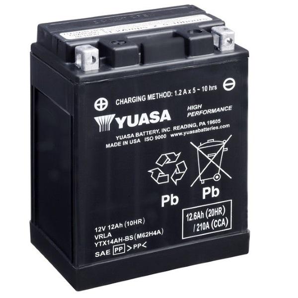 Мото аккумулятор АКБ YUASA (Юаса) YTX14-AH-BS 14-A2, 14B2, 14A-A2 12Ач п.п.