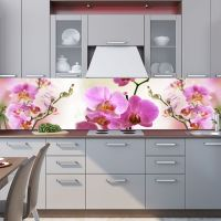 Фартук кухни с фотопечатью. Орхидеи.