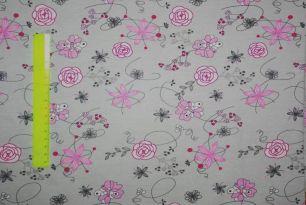 Розовые цветы на сером кулирка с лайкрой
