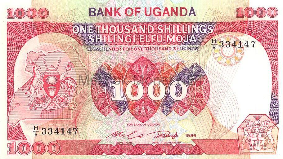 Банкнота Уганда 1000 шиллингов 1986 год