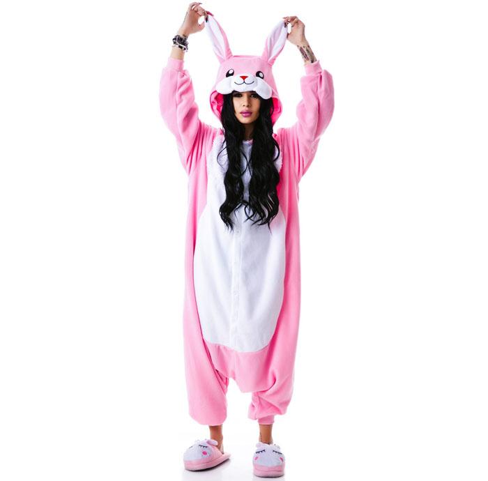 Пижама Кигуруми Заяц Розовый Премиум