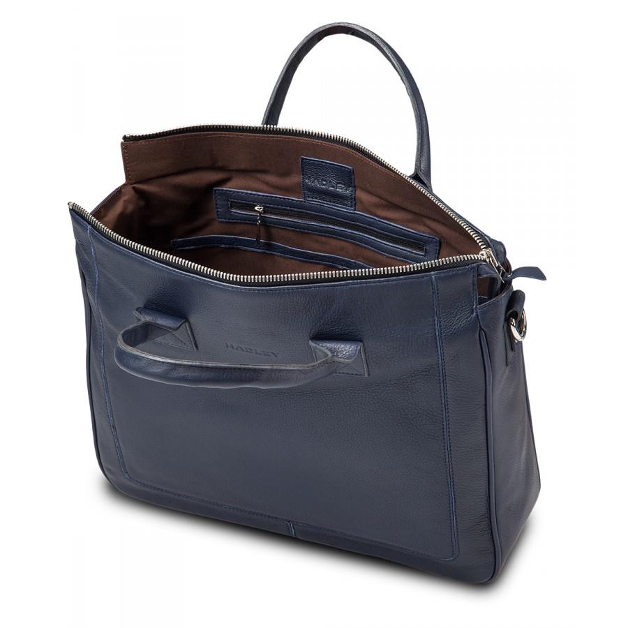 HADLEY HENRY NAVY кожаная деловая сумка портфель