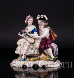 Пара с флейтой и лютней, Rudolf Kammer, Rudolstadt,  Германия, вт. пол. 20 в