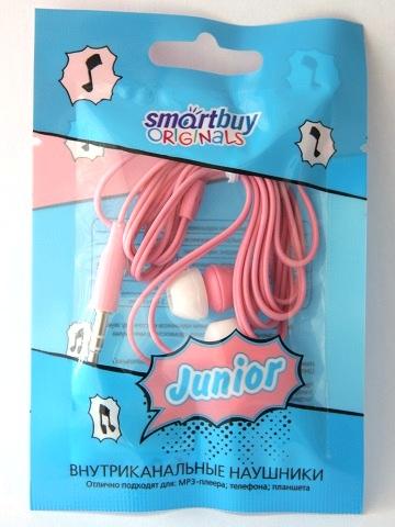 Наушники вакуумные Smartbuy JUNIOR, розовые (SBE-570) (в пакетике)