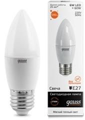 Лампа Gauss LED Elementary Candle 6W E27 2700K