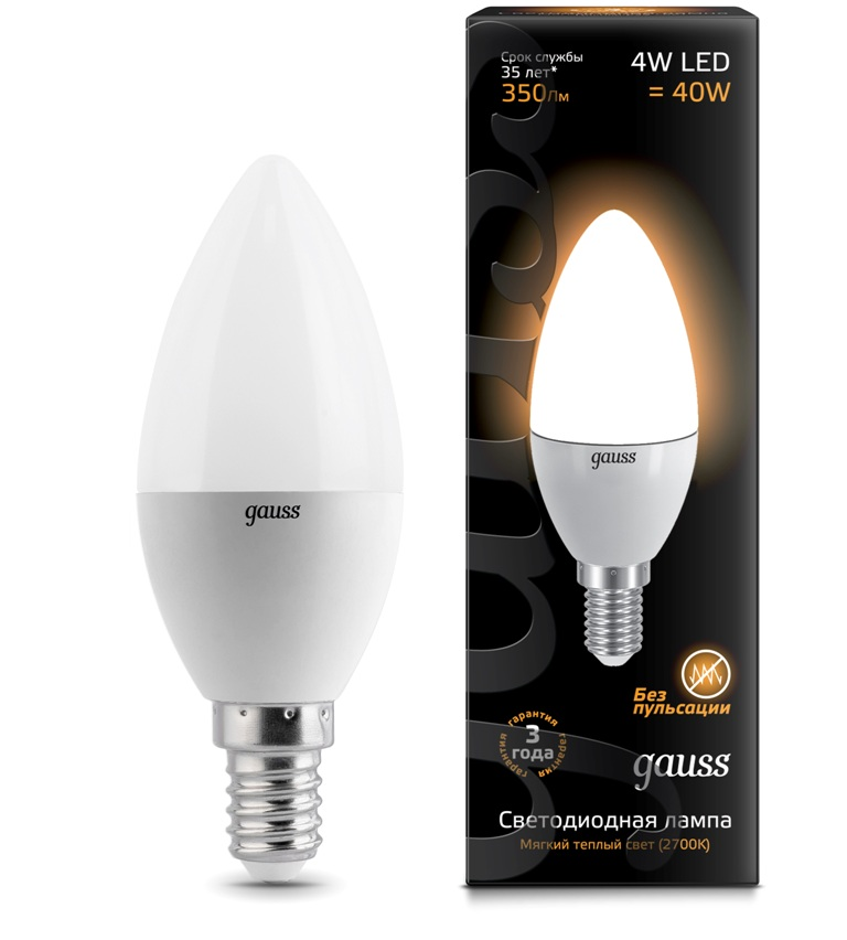 Лампа Gauss LED Candle 4W E14 2700К 1/10/50
