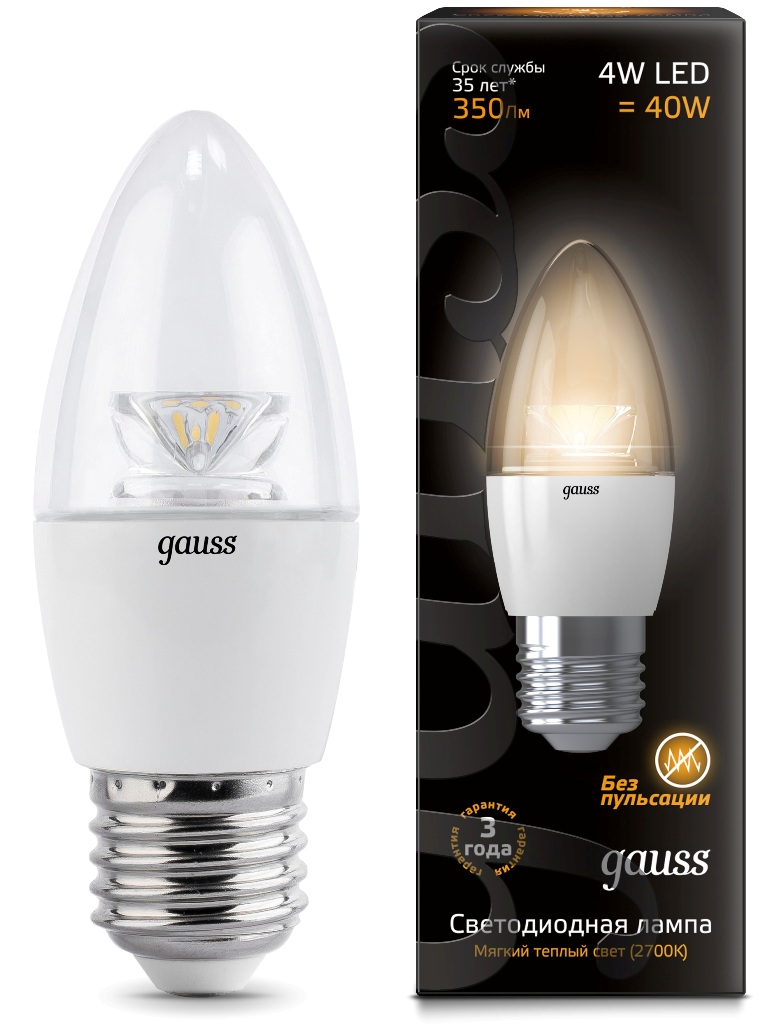 Лампа Gauss LED Candle Crystal Clear 4W E14 2700К
