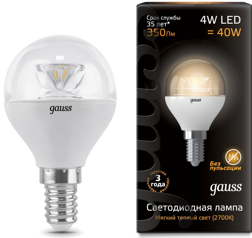 Лампа Gauss LED Globe Crystal Clear 4W E14 2700К