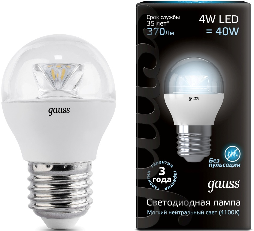 Лампа Gauss LED Globe Crystal Clear 4W E27 4100К