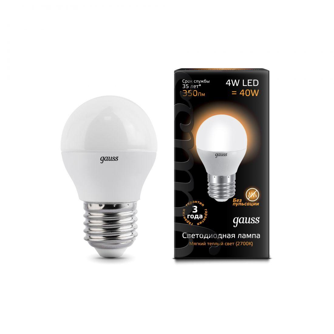 Лампа Gauss LED Globe 4W E27 2700K